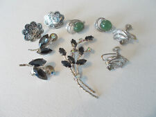 Small lot of vintage jewelry, 1 rhinestone set, 3 screw earrings, Birks sterling