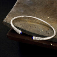 925 Sterling Silber Lapislazuli Armspange offener Armreif Armband Damen A2313