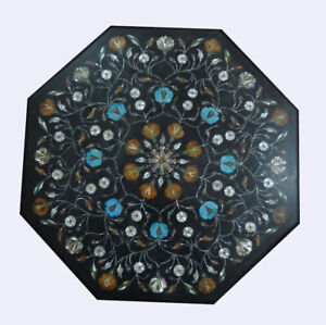 "24"" Marble Side Coffee Table Top Inlaid Mother Of Pearl Turquoise Art Decor B805"