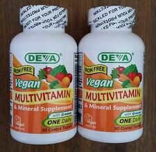 DEVA Vegan Multivitamin and Mineral Supplement IRON FREE x 180 Tabs, Gluten Free