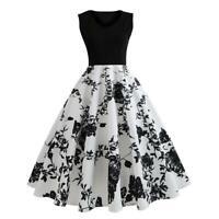 Retro Print Sleeveless V-neck Tunic Swing Dress Elegant Women Maxi Dresses Party