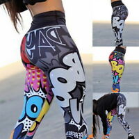 Fashion Womens Graffiti High Waist Yoga Pants Printing Leggings Fitness Pants JR