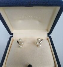 MIKIMOTO Akoya Pearl Silver Earrings with Case Box