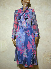 CHIC VINTAGE ROBE SOIE 1970 VTG SILK DRESS 70s KLEID 70er ABITO RETRO (36/38)