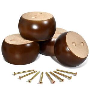 2inch Wooden Sofa Bun Feet Furniture Legs Round Bed Feet Brown Set of 4