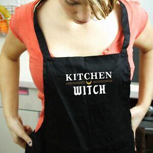 Kitchen Witch Black Apron, Womens Apron Gift, Baking Gift for Women