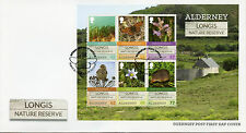 Alderney Guernsey 2016 FDC Longis Nature Reserve 6v M/S Cover Birds Flowers