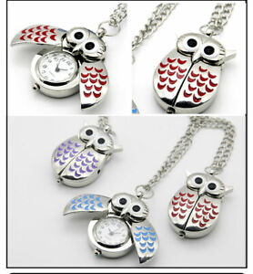 Halskette Eule Figur Analog Quarz Uhr, Eule Anhänger für Handtasche Metall NEU