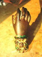 Antique Cast Iron door Knocker Lady's Hand Lace Cuff Egyptian 19th Century #14