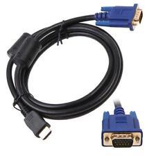 Noir 6ft 1.8m or HDTV HDMI Cordon VGA Homme HD15 câble adaptateur pour PC TV EH
