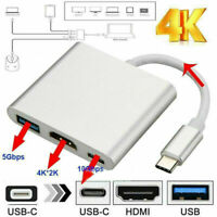 TypeC USB 3.1 to USB-C 4K HDMI USB 3.0 Adapter Cable 3 in1 Hub For Macbook Pro~