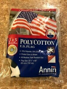Annin  US American Flag 3 x 5 Feet/w Grommets Polyester/Cotton NWT FAST SHIP