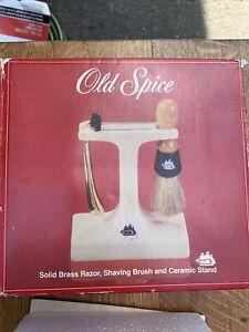 old spice solid brass razor. Brush , And Ceramic Stand Kit Nib