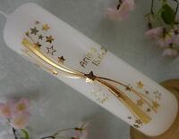 Taufkerze Kommunionkerze Sterne gold Taufkerzen Junge Mädchen 250/70 mm