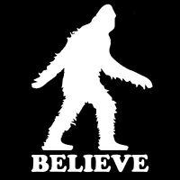 "Sasquatch Yeti Bigfoot Believe Hunting Funny Vinyl Decal Sticker 4"" White #M0F4"
