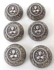 6 Vintage 1 1/8 Inch Pewter Buttons Raised Rose Design Deep Sides