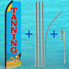 Tanning Salon Flutter Feather Flag + 15' Tall Pole + Mount Kit Swooper Banner