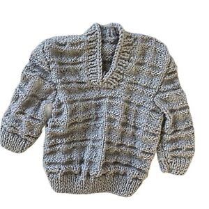 Hand knitted baby boy sweater 0-6 months cable knit pullover v neck jumper beige