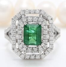 3.50 Carat Natural Emerald and Diamonds in 14K Solid White Gold Women's Ring