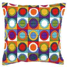 Coloured Circles - Long Stitch Printed Canvas Cushion Kit-Cross Stitch-Tapestry