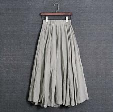 Women Linen Boho Pleated Maxi Long Beach Skirt Dress Vintage Casual Cotton Lady