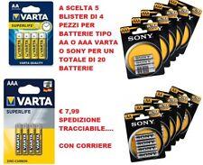 SUPER OFFERTE 20 PILE BATTERIE VARTA AA - AAA  / SONY AA - AAA STILO E MINI STIL