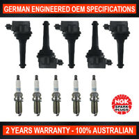 5x Genuine NGK Iridium Spark Plugs & 5x Ignition Coils for Volvo S60 Series 1