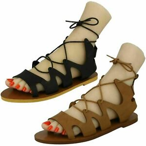 Sale Ladies Spot On Lace Up Gladiator Sandals F0R963