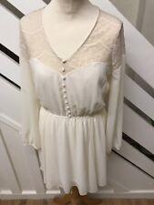River Island Cream Lace Chiffon Long Sleeve Dress Size 10 UK NEW RRP £40