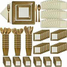 Fancy Disposable Gold & Ivory Dinnerware Set - 24 Guest - 2 Size Square Plates,