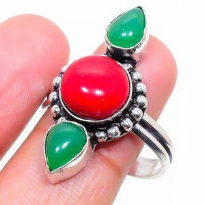 Italian Red Coral, Onyx Gemstone Handmade Ethnic Gift Jewelry Ring Size 9 Z613