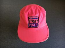 Vision Street Power Hat Vtg 90s Painter Skate Surfer Pink Neon Cotton Cap