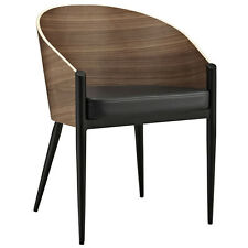 Modern Contemporary Accent Dining Armchair in Walnut Lacquer Wood w/Black Vinyl