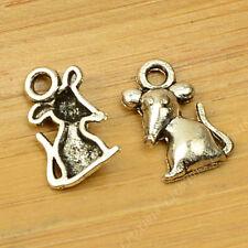 50pc Tibetan Silver Charms Rat Mouse Animal Pendant Beads Jewellery Making B661P