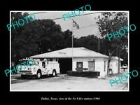 OLD LARGE HISTORIC PHOTO OF DALLAS TEXAS, THE FIRE DEPARTMENT No 9 STATION c1970