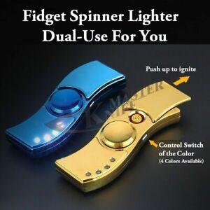 Electronic USB Flameless Rechargeable Fidget Spinner Arc Cigarette Lighter Gift