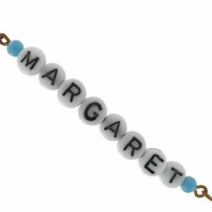 Margaret - Blue Glass Faux Pearl Name Link Bracelet - Circa 1950-60