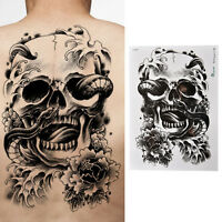 Waterproof Scary Skull Temporary Tattoo Large Arm Body Art Tattoos Sticker _hc