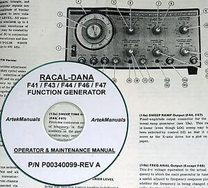 Racal-Dana F41, F43, F44, F46, F47 Function Generators, Manual, Ops + Service