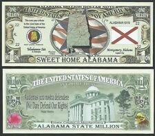Lot of 100 Bills - Alabama State Million Dollar Bill w Map, Seal, Flag, Capitol