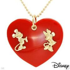 Mickey Minnie couture red large heart shape pendant gold beads design necklace