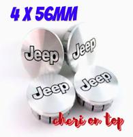 Jeep Silber Matt 4 x 56mm Allufelge ABS Nabenkappen Nabedeckel Satz
