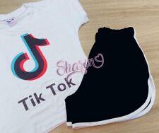 Tik Tok Ladies Women Pajama Short T-shirt Set Pijama De Dama Sz S/M