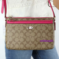 NWT Coach Signature East West Pop Up Swingpack Crossbody Bag F52657 Pink Ruby