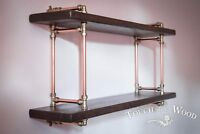Copper Pipe & Brass STEAMPUNK Wall Shelf INDUSTRIAL Reclaimed Wood Display