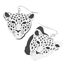 Leopard Double Layered Fashionable Earrings - Fish Hook - Silver Plated