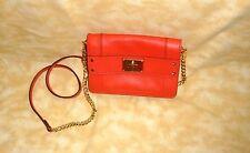 authentic milly mini nappa leather clutch designer handbag reddish orange color