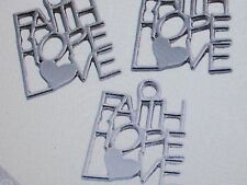12 Silvertone FAITH HOPE LOVE CHARMS inspirational message word charms FREE SH