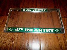U.S ARMY 4th INFANTRY LICENSE PLATE FRAME UNIQUE RAISED LETTER 3D DESIGN.