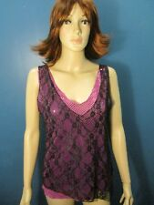 XL black/pink LAYERED LACE and SEQUINS SPARKLE blouse by DKNY JEANS